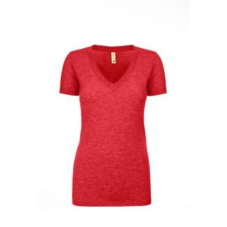 WOMEN'S ECO PERFORMANCE V-HEATHER RED-2XL
