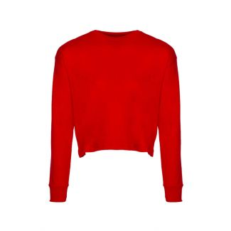 WOMEN'S CROPPED L/S TEE SHIRT-RED-2XL